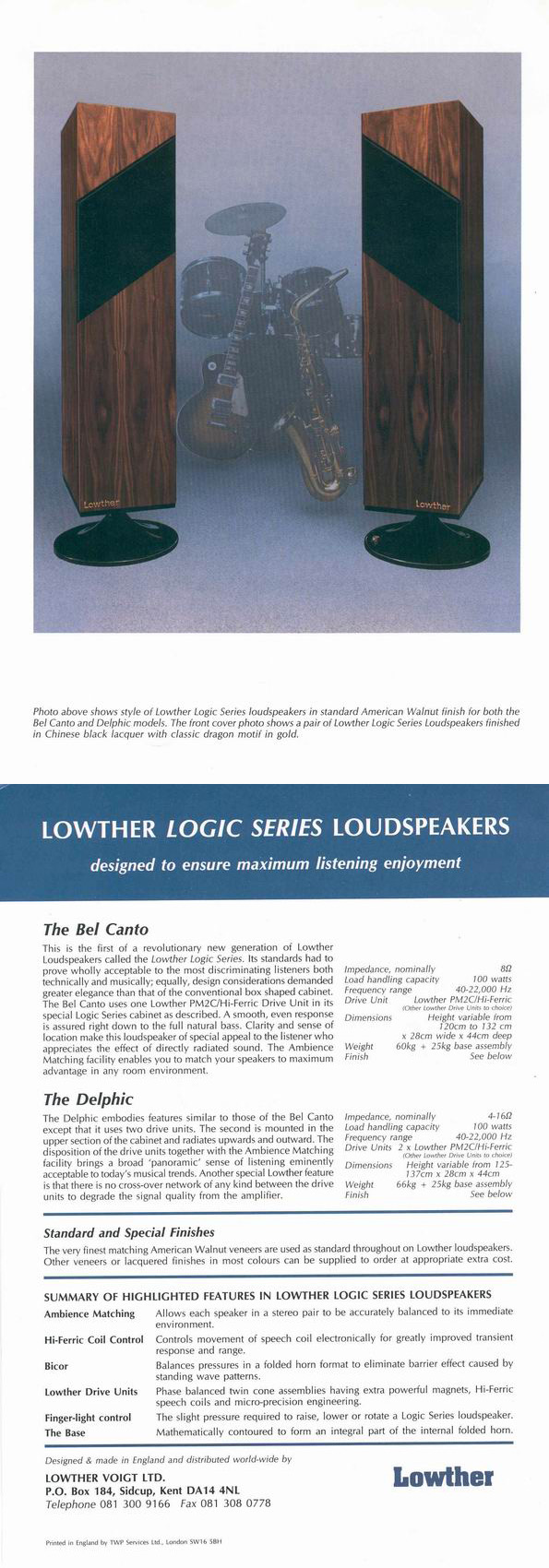 Lowther Loudspeaker Systems